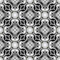 Vintage Baroque seamless pattern. Ornamental black and white background. Antique repeat backdrop. Arabesque Damask ornaments. Royalty Free Stock Photo