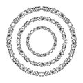 Vintage Baroque Victorian round circle frame border monogram floral ornament scroll engraved pattern tattoo vector heraldic