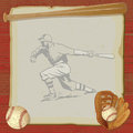 Vintage Baseball Party Invitation Card Royalty Free Stock Photo
