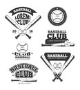 Vintage baseball sports, old vector logos and labels set with bats and softball Royalty Free Stock Photo