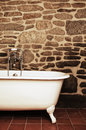Vintage bathroom with clawfoot bathtub oldfashioned Royalty Free Stock Photo
