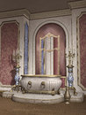 Vintage bathtub and candelabras room with a marble Stock Photo