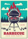 Vintage bbq grill party poster. Delicious grilled burgers, family barbecue vector invitation card