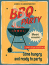 Vintage bbq grill party retro vector banner with a poster template for retro label or banner design Stock Photo