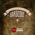 Vintage BBQ Grill restaurant label Stock Photography