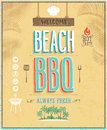 Vintage beach bbq poster vector background Royalty Free Stock Images