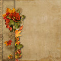 Vintage beautiful background with autumn border Royalty Free Stock Photo