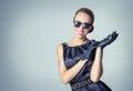 Vintage beautiful fashion girl with sunglasses Stock Image