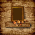 Vintage beautiful frame on  wooden background Stock Photo