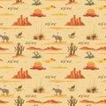 Vintage beautiful seamless desert illustration pattern. Landscape with cactus, mountains, cowboy on horse, sunset Royalty Free Stock Photo