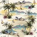 Vintage Beautiful seamless island pattern on white background. L
