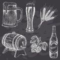 Vintage beer on chalk board