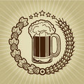 Vintage Beer Mug Seal Stock Image