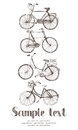Vintage bicycle card hand drawing sketch Royalty Free Stock Image
