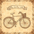 Vintage bicycle hand drawn vector card beige Royalty Free Stock Image
