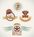 Vintage bicycle labels with classic symbols editable vector illustration Stock Images
