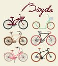 Vintage bicycle Set. Vector illustration. Royalty Free Stock Photo