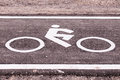 Vintage bicycle sign on road, Bicycle path Royalty Free Stock Photo