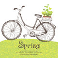 Vintage bicycle with spring seedlings card Stock Photography