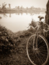 Vintage bicycle style near the river Royalty Free Stock Photo