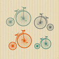 Vintage Bicycles, Bikes on Recycled Paper Background Royalty Free Stock Images