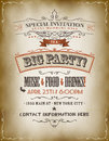 Vintage big party invitation poster illustration of a retro to a with floral patterns sketched banners and grunge texture Stock Photo
