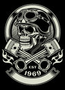 Vintage biker skull with crossed piston emblem fully editable vector illustration of isolated on black background image suitable Stock Photography