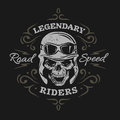 Vintage Biker Skull. On a dark background. Royalty Free Stock Photo