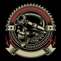 Vintage biker skull emblem fully editable vector illustration of isolated on black background image suitable for crest insignia Royalty Free Stock Photography