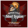 Vintage Biker Skull Emblem Royalty Free Stock Photo