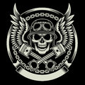 Vintage Biker Skull with Wings and Pistons Emblem Royalty Free Stock Photo