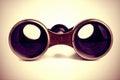 Vintage binoculars retro over white background Stock Photo