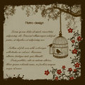 Vintage bird cage retro poster vector illustration Royalty Free Stock Photography