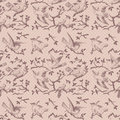 Vintage bird seamless repeatable pattern in pink Stock Images