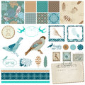 Vintage birds and feathers scrapbook design set in Royalty Free Stock Photo
