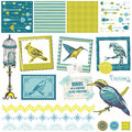 Vintage birds set scrapbook design elements for design and scrapbook in Stock Photo