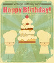 Vintage birthday card Design with chefs Royalty Free Stock Photos
