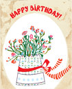 Vintage birthday card with flower pot bow paper Royalty Free Stock Photos
