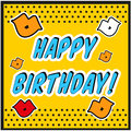 Vintage Birthday Card Pop art style with kiss sign. Royalty Free Stock Photo