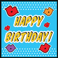 Vintage Birthday Card Pop art style with kiss sign.with kiss and lips Royalty Free Stock Photo