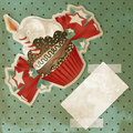 Vintage Birthday Cupcake Royalty Free Stock Photography