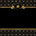 Vintage black background frame golden elements crown text Stock Images