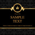 Vintage black damask background frame golden elements text Royalty Free Stock Photos
