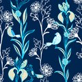 Vintage black floral seamless pattern on dark blue with doodle flowers and birds Royalty Free Stock Images