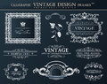 Vintage black frames ornament set. Vector element decor Royalty Free Stock Photo