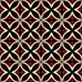 Vintage black red white oriental kaleidoscope background with ci abstract retro ornament circles Royalty Free Stock Image