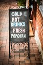 A vintage black sign with chalk writing. Royalty Free Stock Photo