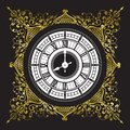 Vintage black and white clock Royalty Free Stock Photo