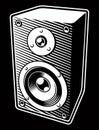 Vintage black and white illustration of Audio Speaker Royalty Free Stock Photo