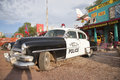 Vintage black and white police car in seligman arizona off route Royalty Free Stock Photo